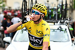 Tour winner Yellow Jersey Chris Froome (GBR) Team Sky celebrates at the start of Stage 21 of the 104th edition of the Tour de France 2017, an individual time trial running 1.3km from Montgeron to Paris Champs-Elysees, France. 23rd July 2017.<br /> Picture: ASO/Alex Broadway | Cyclefile<br /> <br /> <br /> All photos usage must carry mandatory copyright credit (&copy; Cyclefile | ASO/Alex Broadway)