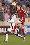 20 March 2008: Andrew Hainault (CAN) (5) heads the ball in front of Freddy Adu (USA) (11). The United States U-23 Men's National Team defeated the Canada U-23 Men's National Team 3-0 at LP Field in Nashville,TN in a semifinal game during the 2008 CONCACAF Men's Olympic Qualifying Tournament. With the victory, the United States qualified for the 2008 Beijing Olympics.