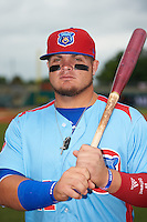 Tennessee Smokies first baseman Dan Vogelbach (21) poses for a photo before a game against the Montgomery Biscuits on May 25, 2015 at Riverwalk Stadium in Montgomery, Alabama.  Tennessee defeated Montgomery 6-3 as the game was called after eight innings due to rain.  (Mike Janes/Four Seam Images)