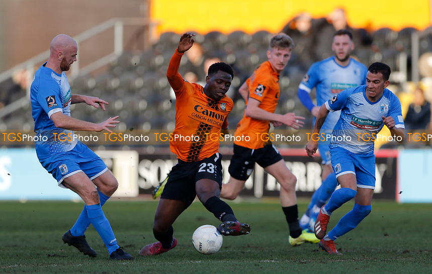 David Tutonda sets up an attack for Barnet during Barnet vs Barrow, Buildbase FA Trophy Football at the Hive Stadium on 8th February 2020