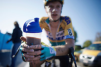 Quinten Hermans (BEL/Telenet-Fidea) on the recovery shake post-race<br /> <br /> Koppenbergcross 2014