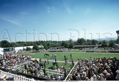 PARADE RING, Glorious Goodwood, 990727. Photo: Glyn Kirk/Action Plus...1999.horse racing.equestrian.crowds.equestrian sports.racecourses racecourse.venue venues