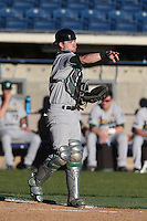 Jake Rogers #4 of the Tulane Green Wave during a game against the Pepperdine Waves at Eddy D. Field Stadium on March 13, 2015 in Malibu, California. Tulane defeated Pepperdine, 9-3. (Larry Goren/Four Seam Images)