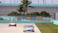 Rcae cars in front of palm trees, Homestead-Miami Speedway, Homestead, FL. (Photo by Brian Cleary/www.bcpix.com)