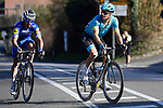 Jakob Fuglsang (DEN) Astana Pro Team and Julian Alaphilippe (FRA) Deceuninck-Quick Step in the final kilometres of Strade Bianche 2019 running 14km from Siena to Siena, held over the white gravel roads of Tuscany, Italy. 9th March 2019.<br /> Picture: Eoin Clarke | Cyclefile<br /> <br /> <br /> All photos usage must carry mandatory copyright credit (© Cyclefile | Eoin Clarke)
