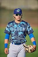 Niko Hulsizer (12) of the Ogden Raptors before the game against the Orem Owlz at Lindquist Field on August 3, 2018 in Ogden, Utah. The Raptors defeated the Owlz 9-4. (Stephen Smith/Four Seam Images)