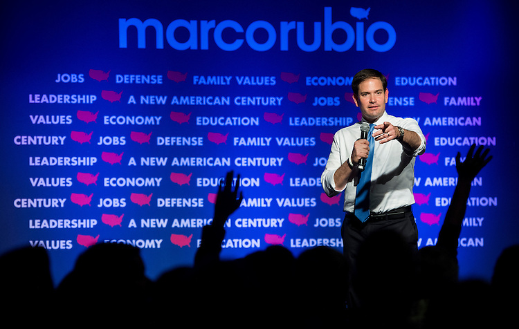UNITED STATES - AUGUST 26: GOP Presidential candidate Sen. Marco Rubio, R-Fla., holds a town hall meeting in Londonderry, N.H., on Wednesday, Aug. 26, 2015. (Photo By Bill Clark/CQ Roll Call)