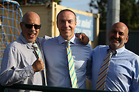 Aki Achillea (L) Chairman of Haringey poses for a photo  during Haringey Borough vs Herne Bay, Emirates FA Cup Football at Coles Park Stadium on 7th September 2019