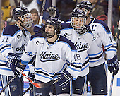 Maine celebrates - Michel Leveille, Josh Soares, Derek Damon, Greg Moore  - The Boston College Eagles defeated the University of Maine Black Bears 4-1 in the Hockey East Semi-Final at the TD Banknorth Garden on Friday, March 17, 2006.
