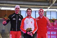 SCHAATSEN: BERLIJN: Sportforum, 06-12-2013, Essent ISU World Cup, podium 500m Men Division B, Artur Was (POL), William Dutton (CAN), Aleksey Yesin (RUS), ©foto Martin de Jong
