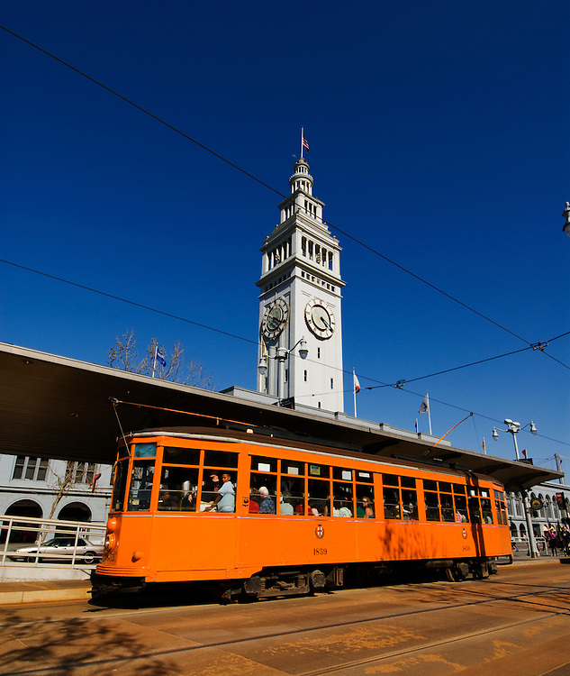 California, San Francisco: A historic trolley car in front of the Ferry Building..Photo #: 19-casanf79155.Photo © Lee Foster 2008