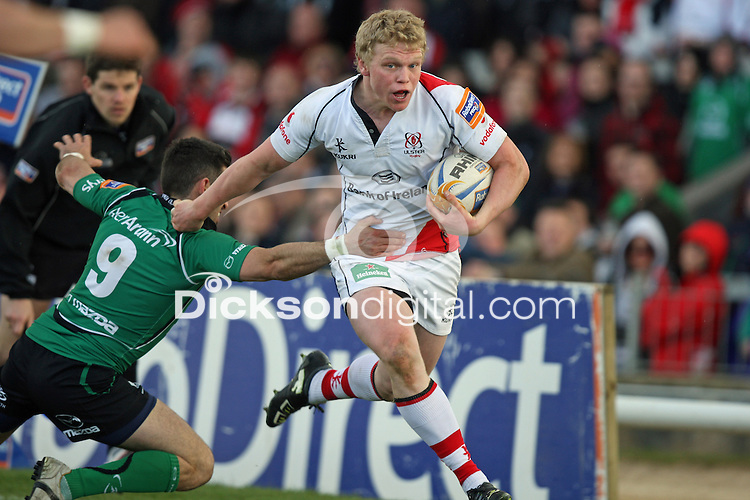 Saturday 14th April 2012 - Ulster centre Nevin Spence gets past Connacht scrum half Frank Murphy during the Pro 12 clash against Connacht at the Sportsground in Galway.<br /> <br /> Picture credit: John Dickson / DICKSONDIGITAL