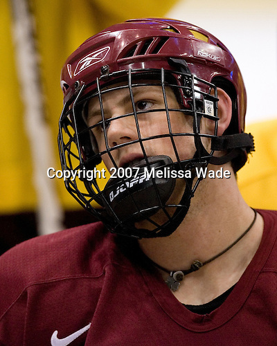 Nathan Gerbe (Boston College - Oxford, MI) takes part in the Eagles' Wednesday practice on April 4, 2007 at the Scottrade Center in St. Louis, Missouri, prior to their Thursday 2007 Frozen Four Semi-Final.