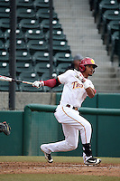 Reggie Southall (5) of the Southern California Trojans bats against the Mississippi State Bulldogs at Dedeaux Field on March 5, 2016 in Los Angeles, California. Mississippi State defeated Southern California , 8-7. (Larry Goren/Four Seam Images)