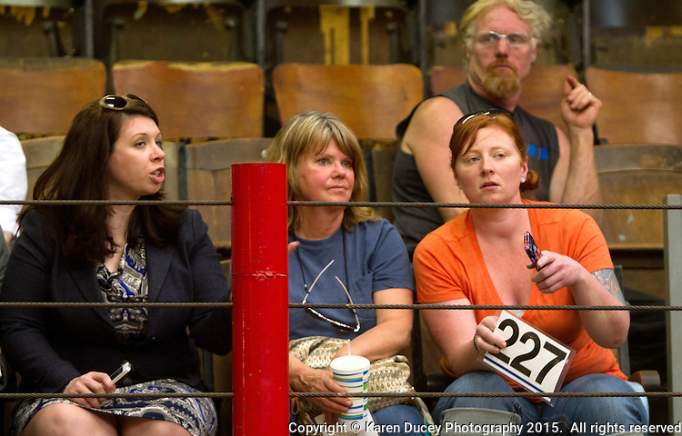 From left to right: Rep. Michelle Caldier (R- Port Orchard), Rhonda Froode, and Mary Kate Fowler from Lake Bay, Wash. try to figure out who else was bidding a pony she had previously rescued, during the ponies' auction at the Enumclaw Sale Pavilion in Enumclaw, Wash. on May 9, 2015. (photo © Karen Ducey Photography)