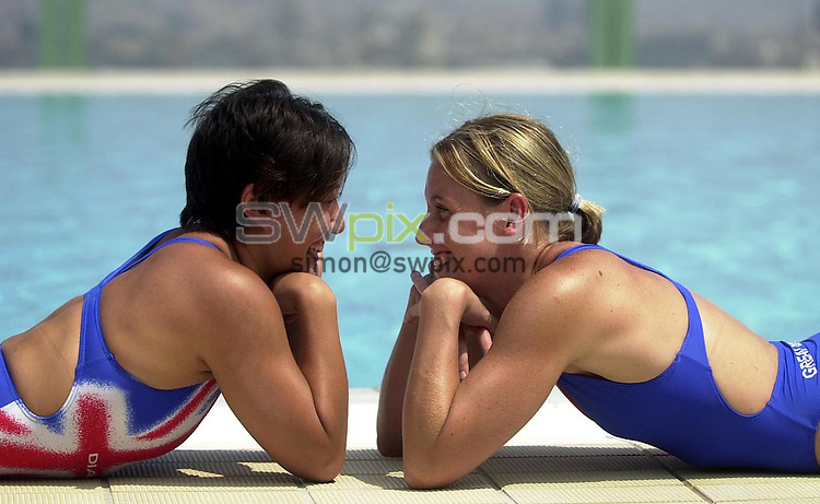 Pix: Matthew Lewis/SWpix.com. Diving. 10th Fina World Championships 2003, Barcelona. 14/07/2003...COPYRIGHT PICTURE>>SIMON WILKINSON>>01943 436649>>..Great Britain's Karen Smith and Monique McCarroll.