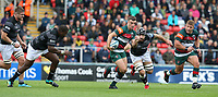 Leicester Tigers' George Ford breaks clear of Newcastle Falcons' Gary Graham (right) and Sami Mavinga <br /> <br /> Photographer Stephen White/CameraSport<br /> <br /> Gallagher Premiership Round 2 - Leicester Tigers v Newcastle Falcons - Saturday September 8th 2018 - Welford Road - Leicester<br /> <br /> World Copyright &copy; 2018 CameraSport. All rights reserved. 43 Linden Ave. Countesthorpe. Leicester. England. LE8 5PG - Tel: +44 (0) 116 277 4147 - admin@camerasport.com - www.camerasport.com