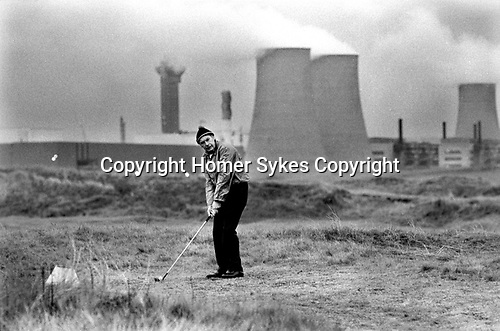 Windscale and Calder Nuclear processing plant 1980s Cumbria UK. British Nuclear Fuels. Formally known as Sellafield, the so called toxic golf course. 1983.<br />