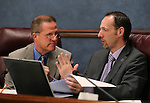 Nevada Sens. Mark Hutchison, R-Las Vegas, and Justin Jones, D-Las Vegas, work in committee on Friday, May 3, 2013, at the Legislative Building in Carson City, Nev..Photo by Cathleen Allison