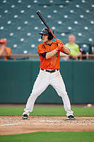 Bowie Baysox second baseman Corban Joseph (5) at bat during the first game of a doubleheader against the Trenton Thunder on June 13, 2018 at Prince George's Stadium in Bowie, Maryland.  Trenton defeated Bowie 4-3.  (Mike Janes/Four Seam Images)