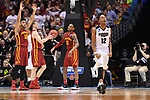 MILWAUKEE, WI - MARCH 18: Purdue Boilermakers forward Vince Edwards (12) celebrates as Iowa State Cyclones players look on during the second half of the 2017 NCAA Men's Basketball Tournament held at BMO Harris Bradley Center on March 18, 2017 in Milwaukee, Wisconsin. (Photo by Jamie Schwaberow/NCAA Photos via Getty Images)