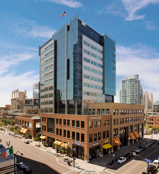 Carrier Johnson designed the dramatic Diamond View Tower which sits nearly in right field of the Padres ballpark in downtown San Diego. The project was completed in 2008 and represents the new generation of downtown development in the East Village or Ballpark District of San Diego