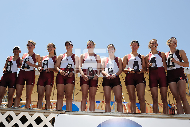 GOLD RIVER - JUNE 1:  (l to r) Jen Brown (cox), Eva Sheridan, Erika Roddy, Lauren Hofmayer, Sophie Aubrey, Steph Morrison, Michelle Vezie, Adrienne Fritsch and Jessi Reel celebrate their second place finish in the 2008 NCAA Rowing Championships at Lake Natoma in Gold River, CA.