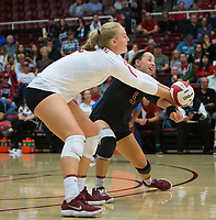 STANFORD, CA - October 12, 2018: Kathryn Plummer, Morgan Hentz at Maples Pavilion. No. 2 Stanford Cardinal swept No. 21 Washington State Cougars, 25-15, 30-28, 25-12.