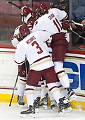 Julius Mattila (BC - 26), Graham McPhee (BC - 27), Scott Savage (BC - 2), Luke McInnis (BC - 3), Chris Calnan (BC - 11) - The visiting University of Vermont Catamounts tied the Boston College Eagles 2-2 on Saturday, February 18, 2017, Boston College's senior night at Kelley Rink in Conte Forum in Chestnut Hill, Massachusetts.Vermont and BC tied 2-2 on Saturday, February 18, 2017, Boston College's senior night at Kelley Rink in Conte Forum in Chestnut Hill, Massachusetts.
