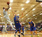 SIOUX FALLS, SD - NOVEMBER 24: Charles Ward #22 from the University of Sioux Falls shoots a fade away jumper over Seth Cavanaugh #24 from Dakota State University in the first half of their game Monday night at the Stewart Center.  (Photo by Dave Eggen/Inertia)