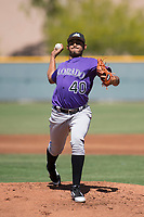 Colorado Rockies starting pitcher Jeffri Ocando (40) delivers a pitch to the plate during an Extended Spring Training game against the Chicago Cubs at Sloan Park on April 17, 2018 in Mesa, Arizona. (Zachary Lucy/Four Seam Images)