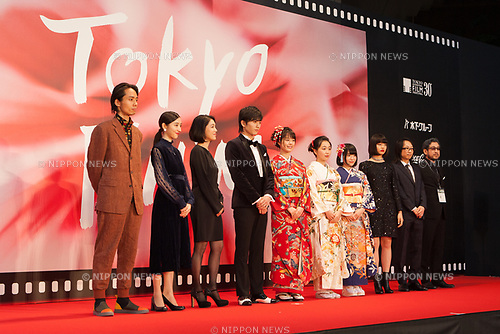 Sashin Koshien Summer in 0,5 seconds appears on the opening red carpet for The 30th Tokyo International Film Festival in Roppongi on October 25th, 2017, in Tokyo, Japan. The festival runs from October 25th to November 3rd at venues in Tokyo. (Photo by Michael Steinebach/AFLO)