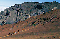 Horseback riders inside the crater of HALEAKALA NATIONAL PARK on Maui in Hawai USAi