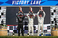 GT3 USA Platinum Masters Podium, #56 Topp Racing, Porsche 991 / 2018, GT3P: David Baker (M), #20 Wright Motorsports, Porsche 991 / 2017, GT3P: Fred Poordad (M), #43 JDX Racing, Porsche 991 / 2017, GT3P: Mark Kvamme (M)