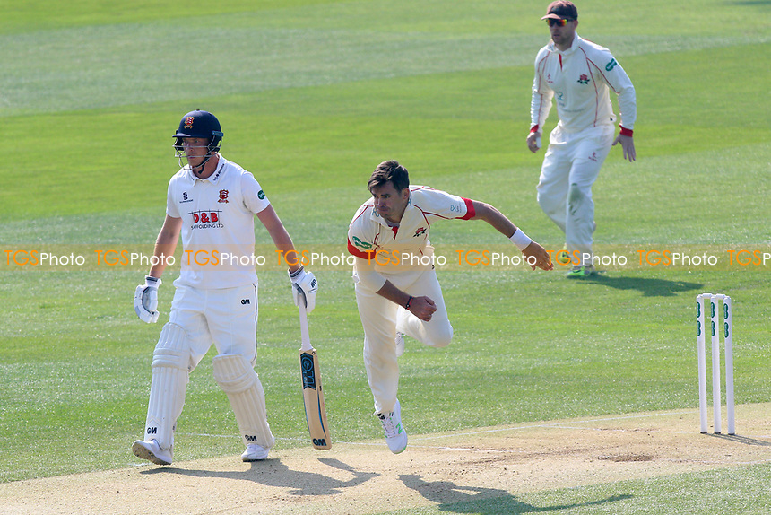 James Anderson in bowling action for Lancashire during Essex CCC vs Lancashire CCC, Specsavers County Championship Division 1 Cricket at The Cloudfm County Ground on 8th April 2017