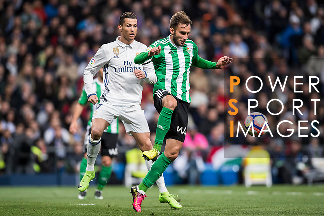 German Pezzella of Real Betis is followed by Cristiano Ronaldo of Real Madrid during their La Liga match between Real Madrid and Real Betis at the Santiago Bernabeu Stadium on 12 March 2017 in Madrid, Spain. Photo by Diego Gonzalez Souto / Power Sport Images