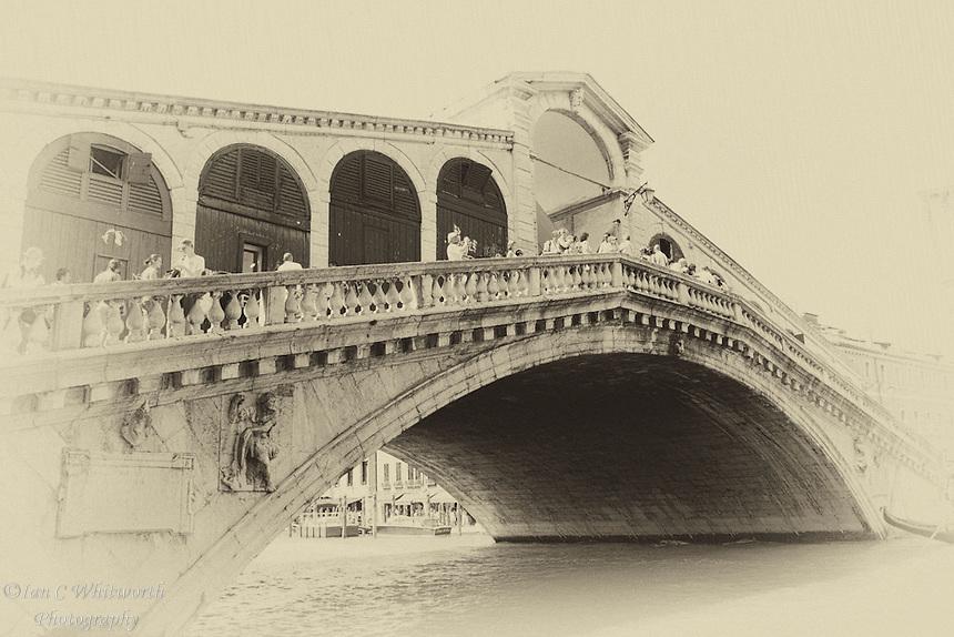 Venice Rialto Bridge in an antique style.