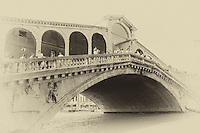 Venice Rialto Bridge in an antique style.