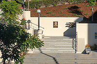 A staircase inscribed with a Barack Obama '83 speech, next to the plaza of the Arthur G. Coons (AGC) Administrative Center, where Obama gave his first public political speech during an anti-apartheid rally on Feb. 18, 1981.<br /> (Photo by Marc Campos, Occidental College Photographer)