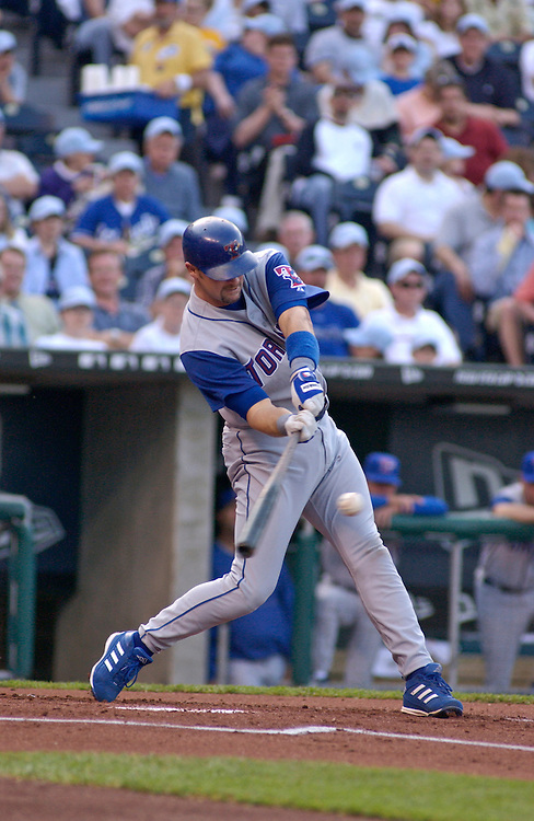 Blue Jays catcher Tom Wilson hits an RBI double in the first inning against the Royals at Kauffman Stadium in Kansas City, Mo., on May 17, 2003. Toronto won 7-4.