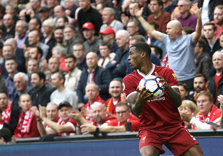 Liverpool's Georginio Wijnaldum<br /> <br /> Photographer Rich Linley/CameraSport<br /> <br /> The Premier League - Liverpool v Manchester United - Saturday 14th October 2017 - Anfield - Liverpool<br /> <br /> World Copyright &copy; 2017 CameraSport. All rights reserved. 43 Linden Ave. Countesthorpe. Leicester. England. LE8 5PG - Tel: +44 (0) 116 277 4147 - admin@camerasport.com - www.camerasport.com