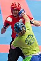 Gold medalist Ursa Terdin (bottom) of Slovenia and Stefanie Kemper (top) of Germany fight in the 2 LC 043 S F -70 kg final at the WAKO (World Association of Kickboxing Organizations) World Kick-boxing Championships in Budapest, Hungary on Nov. 10, 2017. ATTILA VOLGYI