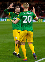 Preston North End's Jayden Stockley celebrates scoring his side's second goal with Brandon Barker<br /> <br /> Photographer Alex Dodd/CameraSport<br /> <br /> The EFL Sky Bet Championship - Middlesbrough v Preston North End - Wednesday 13th March 2019 - Riverside Stadium - Middlesbrough<br /> <br /> World Copyright &copy; 2019 CameraSport. All rights reserved. 43 Linden Ave. Countesthorpe. Leicester. England. LE8 5PG - Tel: +44 (0) 116 277 4147 - admin@camerasport.com - www.camerasport.com