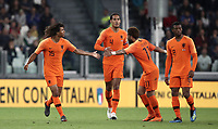 International friendly football match Italy vs The Netherlands, Allianz Stadium, Turin, Italy, June 4, 2018. <br /> Netherlands' Nathan Aké (l) celebrates with his teammates after scoring during the international friendly football match between Italy and The Netherlands at the Allianz Stadium in Turin on June 4, 2018.<br /> UPDATE IMAGES PRESS/Isabella Bonotto