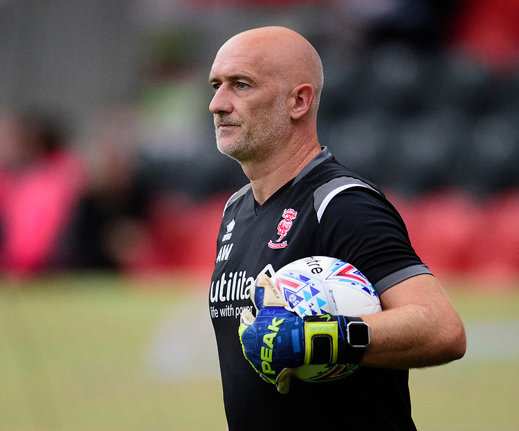 Lincoln City's first team goalkeeping coach Andy Warrington during the pre-match warm-up<br /> <br /> Photographer Andrew Vaughan/CameraSport<br /> <br /> EFL Leasing.com Trophy - Northern Section - Group H - Doncaster Rovers v Lincoln City - Tuesday 3rd September 2019 - Keepmoat Stadium - Doncaster<br />  <br /> World Copyright © 2018 CameraSport. All rights reserved. 43 Linden Ave. Countesthorpe. Leicester. England. LE8 5PG - Tel: +44 (0) 116 277 4147 - admin@camerasport.com - www.camerasport.com