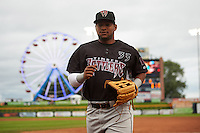 Wisconsin Timber Rattlers outfielder Omar Cotto (33) during the first game of a doubleheader against the Quad Cities River Bandits on August 19, 2015 at Modern Woodmen Park in Davenport, Iowa.  Quad Cities defeated Wisconsin 3-2.  (Mike Janes/Four Seam Images)