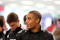 Wednesday 07 August 2013<br /> Pictured: Ashley Williams at Cardiff Airport.<br /> Re: Swansea City FC travelling to Sweden for their Europa League 3rd Qualifying Round, Second Leg game against Malmo.
