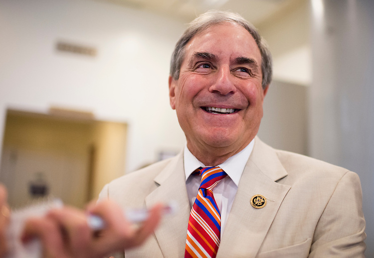UNITED STATES - JULY 21: Rep. John Yarmuth, D-Ky., speaks with a reporter at the Senate subway on Tuesday, July 21, 2015. (Photo By Bill Clark/CQ Roll Call)