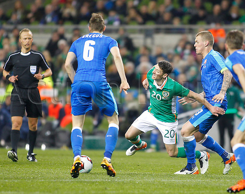 29.03.2016. Aviva Stadium, Dublin, Ireland.  International Football Friendly Ireland versus Slovakia. Martin Skrtel (Slovakia) fouls Wes Hoolahan (Rep. of Ireland).
