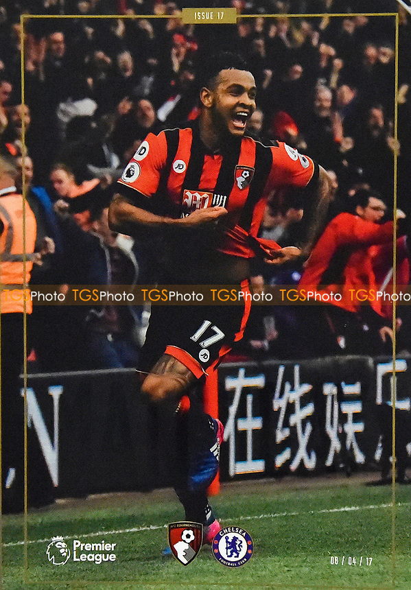 Joshua King of AFC Bournemouth on the front of the match day programme during AFC Bournemouth vs Chelsea, Premier League Football at the Vitality Stadium on 8th April 2017